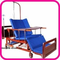 Кровать для лежачего больного с функцией переворачивания, туалетом, матрасом и положением кардио-кресло Е-45А (YG-5 PLUS WOOD)